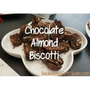 white plate filled with chocolate almond biscotti