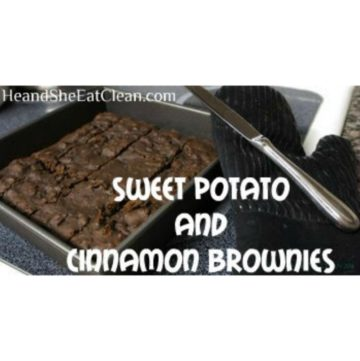 pan of cut brownies with a knife and oven mitt on the side