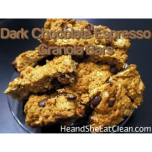 dark chocolate espresso granola bars on a clear plate