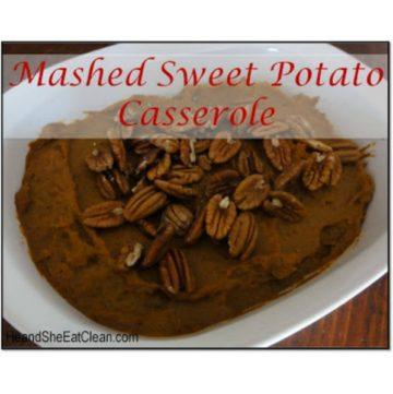 sweet potato casserole in a white dish