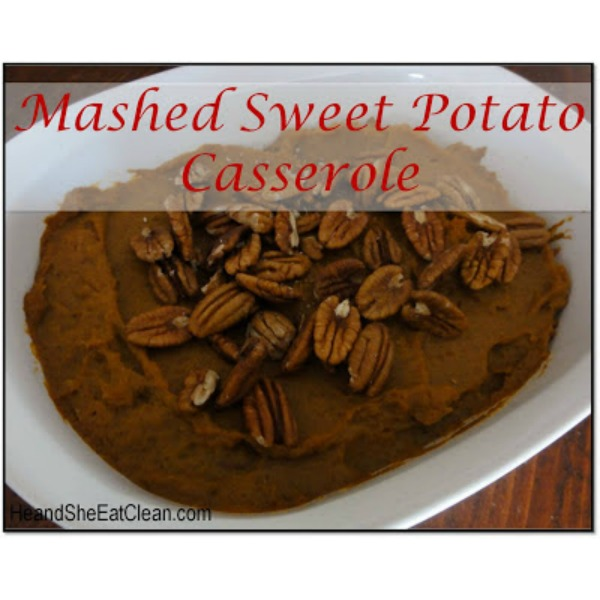 sweet potato casserole in a white dish