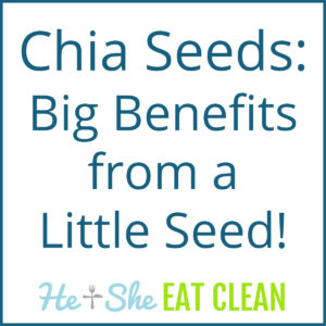 text reads Chia Seeds - Big Benefits from a Little Seed!