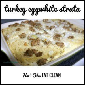 turkey eggwhite strata in a white pan
