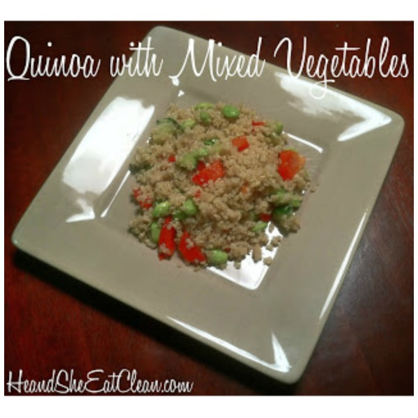 quinoa with mixed vegetables on a beige plate