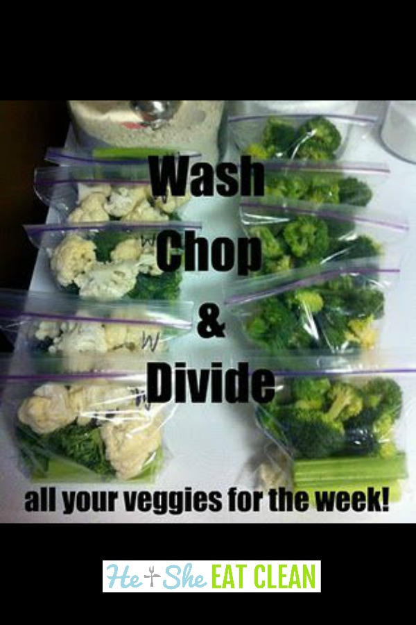 vegetables in ziploc bags with text that reads wash, chop & divide
