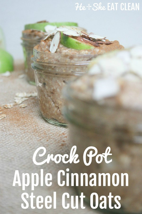 3 jars of oats in a glass jar with text that reads crock pot apple cinnamon oats