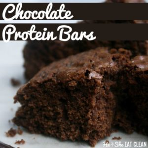 chocolate protein bars on a white napkin