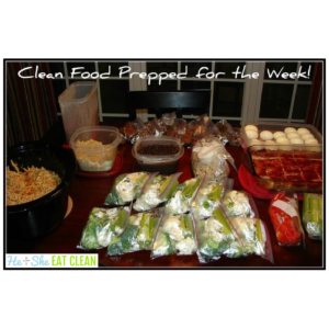 clean eating food on a table with text that reads clean food prepped for the week!