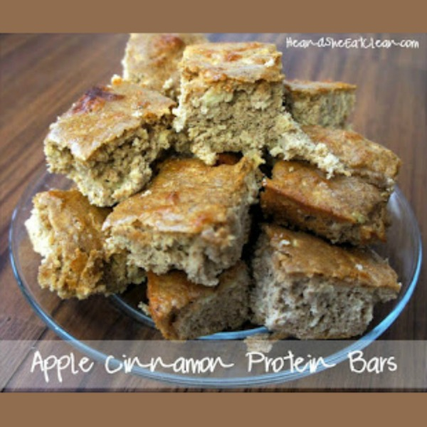 Apple Cinnamon Protein Bars on a clear plate