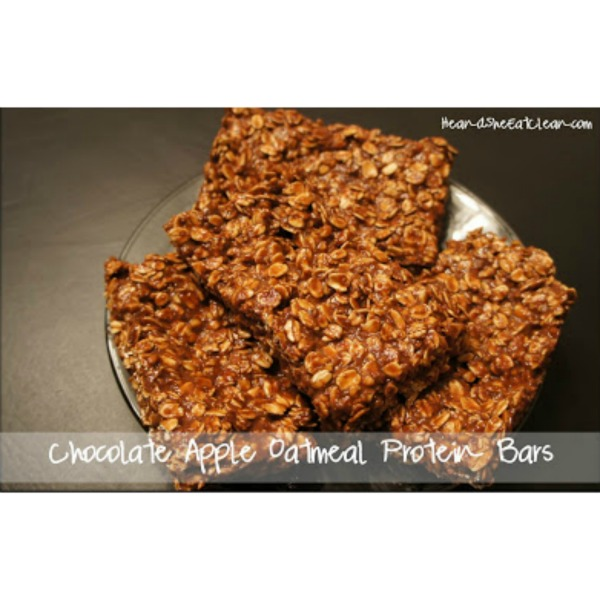 Chocolate Apple Oatmeal Protein Bars on a plate