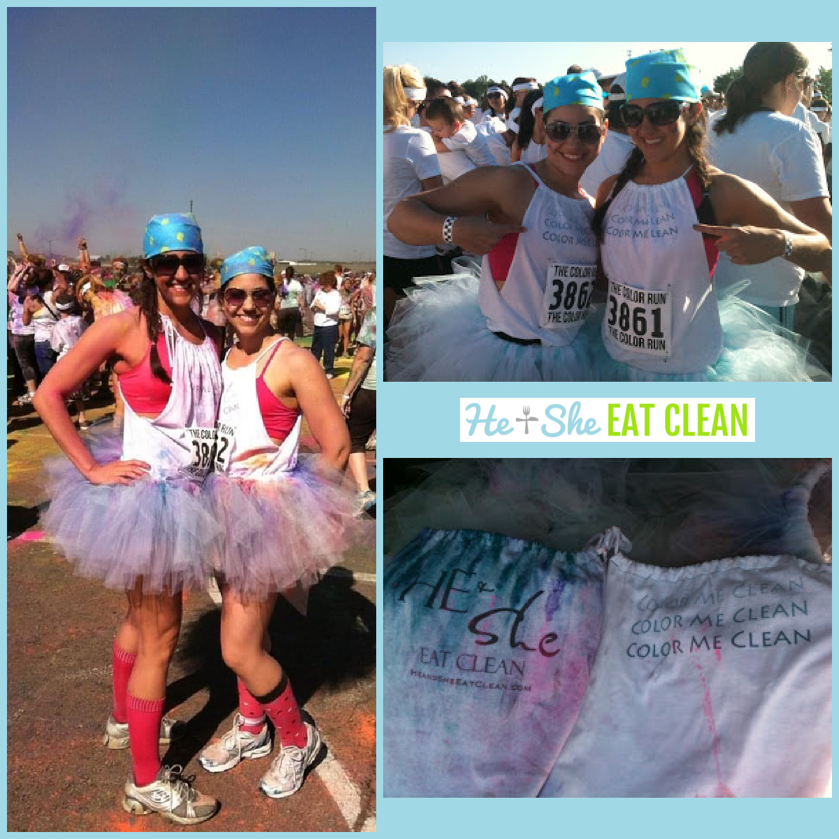 collage of 3 pictures from the color run: two females in two pictures and a picture of t shirt in the 3rd