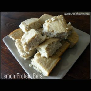 lemon protein bars on a beige plate