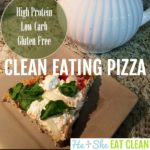 slice of clean eating pizza on a beige plate square image