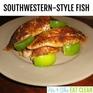 southwestern style fish on a beige plate with limes