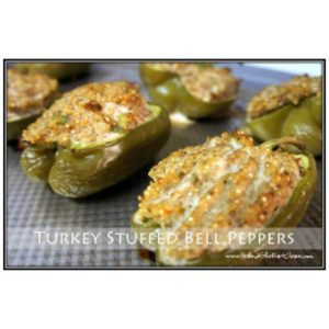 turkey stuffed green bell peppers on a tray