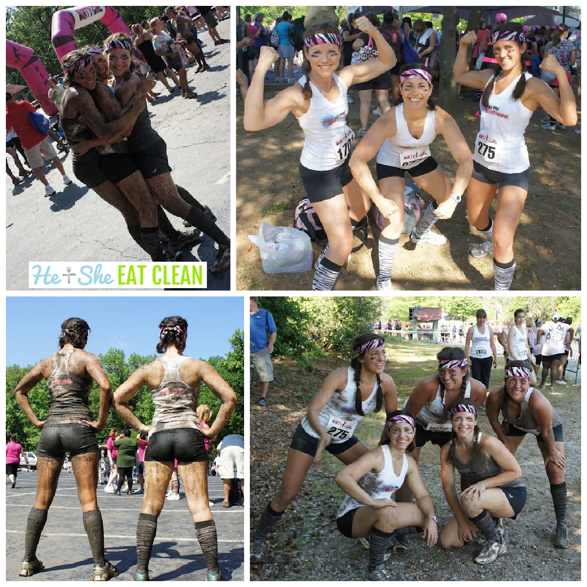 collage of pictures from the dirty girl mud run