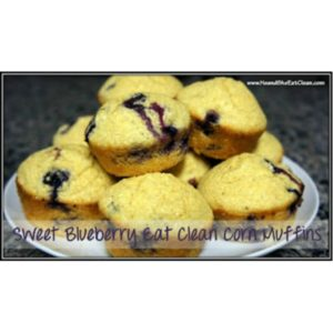 Sweet Blueberry Eat Clean Corn Muffins on a white plate