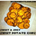 sweet potato chips on a tan plate