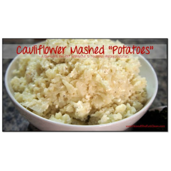 Cauliflower Mashed Potatoes in a white bowl
