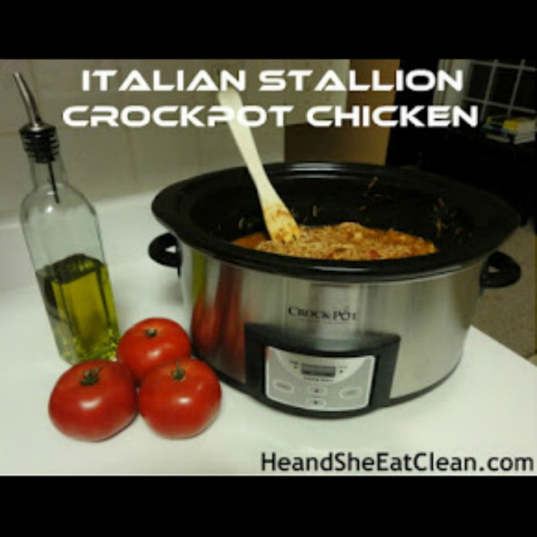 crockpot sitting on a counter with tomatoes and olive oil beside it. text reads Italian stallion crockpot chicken