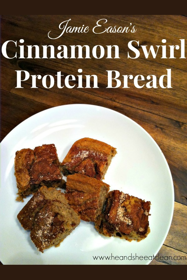 protein bars on a white plate text reads Jamie Eason's Cinnamon Swirl Protein Bread