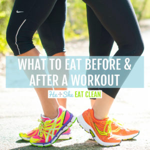 square image of two females standing back to back with text that reads what to eat before & after a workout