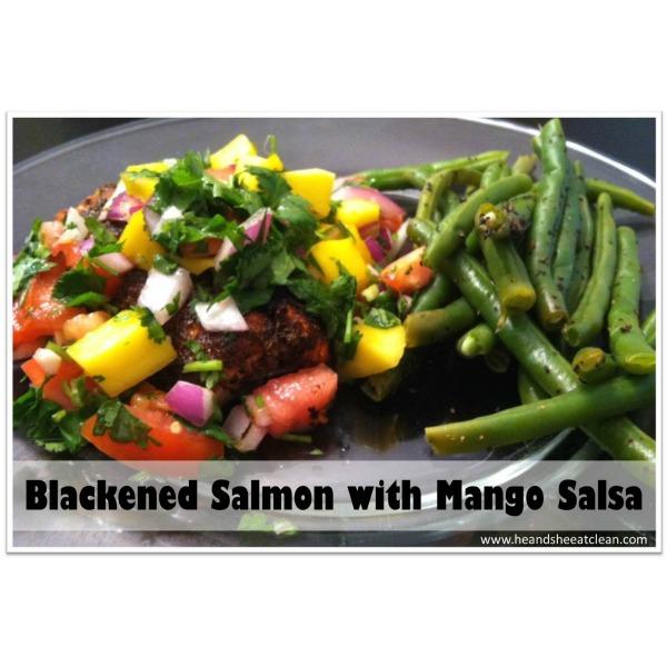 blackened salmon with mango salsa on top