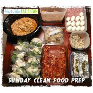 picture of food prep on top of a table with text that reads Sunday Clean Food Prep