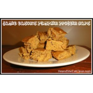 pumpkin protein bars on a white plate