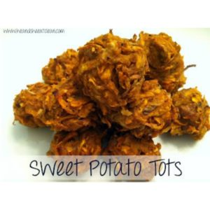 sweet potato tots on a white plate