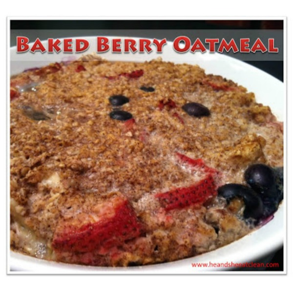 baked oatmeal in a white bowl