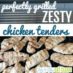 numerous chicken tenders on a grill with text that reads perfectly grilled chicken tenders square image