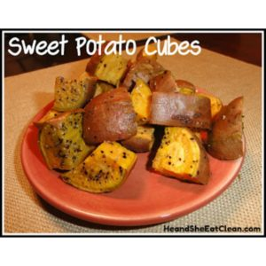 sweet potato cubes on a red small plate