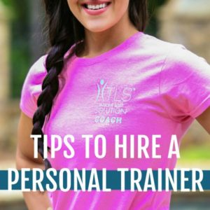 female in pink shirt with hair braided and text that reads tips to hire a personal trainer