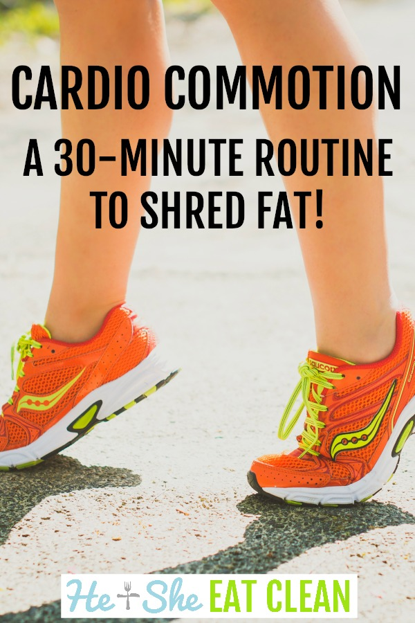 female with orange shoes and text reads cardio commotion - a 30-minute routine to shred fat
