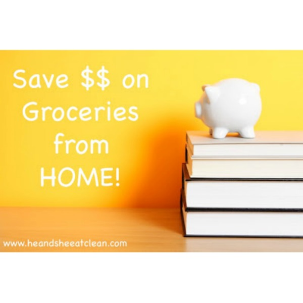 piggy bank on books with text that reads save $$ on groceries from home!