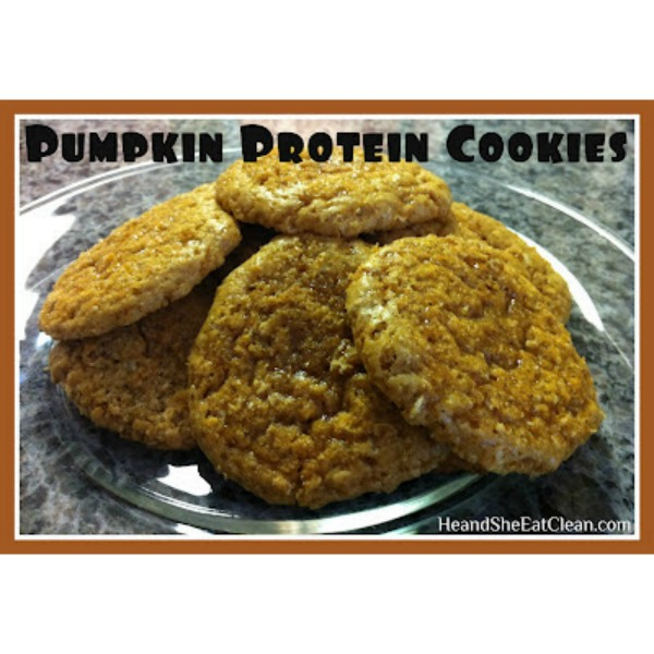 pumpkin protein cookies on a clear plate