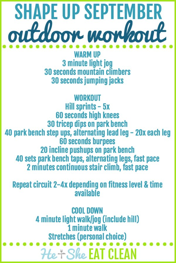 text reads shape up September outdoor workout with the workout listed