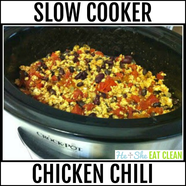 chili in a crock pot with text that reads slow cooker chicken chili