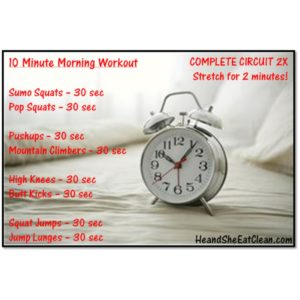 10 minute wake up working workout with an alarm clock in the picture square image