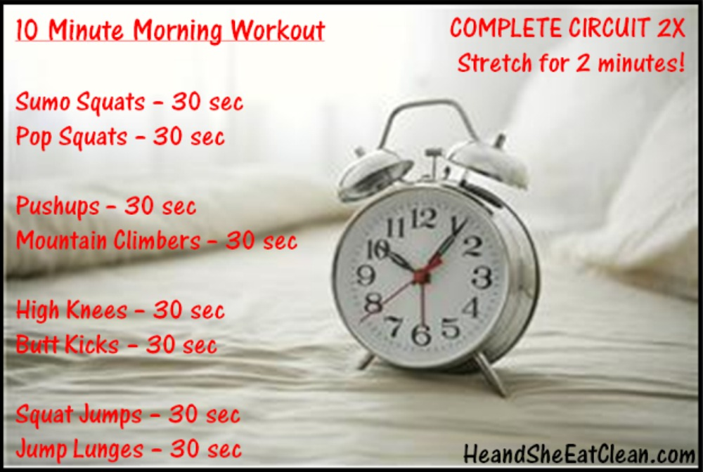 10 minute wake up working workout with an alarm clock in the picture