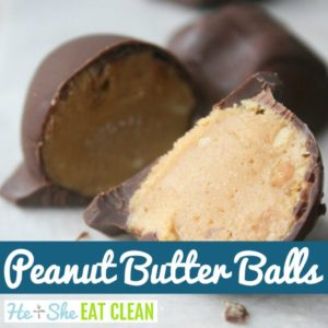 peanut butter balls on a white surface with text that reads peanut butter balls square