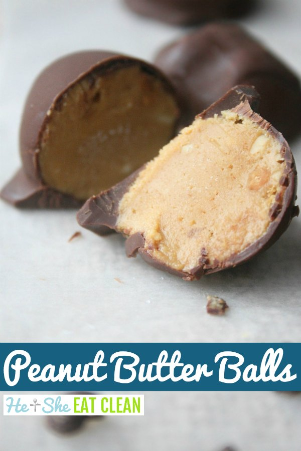 peanut butter balls on a white surface with text that reads peanut butter balls