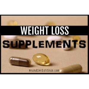 pills on a beige placemat, text reads weight loss supplements