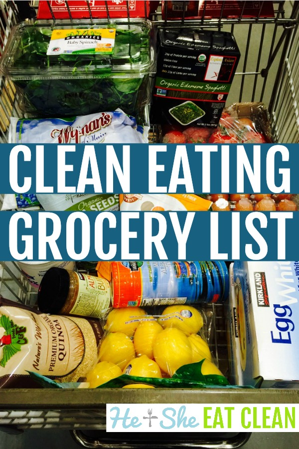 shopping cart with text that reads Clean Eating Grocery List