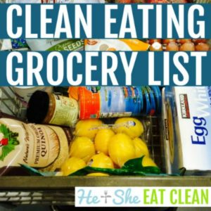 shopping cart with text that reads Clean Eating Grocery List square image