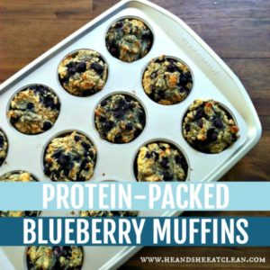 pan of blueberry muffins with text that reads protein-packed blueberry muffins
