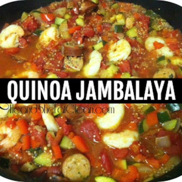 pot of quinoa jambalaya