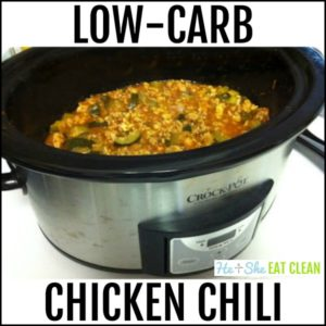 chili in the crockpot with text that reads low carb chicken chili