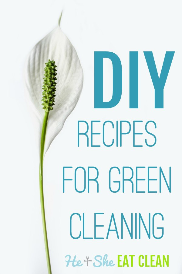DIY recipes for green cleaning in blue text on white background with a flower